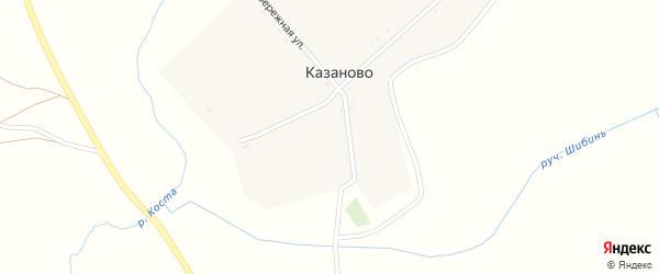 Набережная улица на карте деревни Казаново с номерами домов