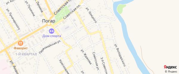 Советская улица на карте поселка Погара с номерами домов