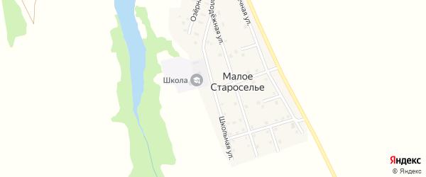 Школьная улица на карте деревни Малого Староселья с номерами домов