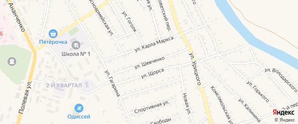Улица Шевченко на карте поселка Погара с номерами домов