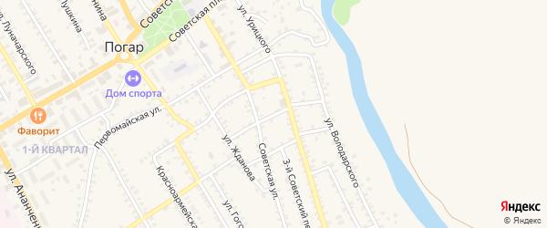 1-й Советский переулок на карте поселка Погара с номерами домов