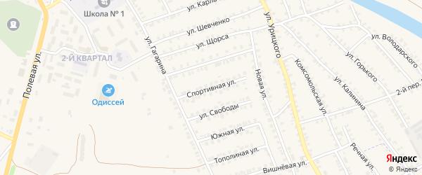 Спортивная улица на карте поселка Погара с номерами домов