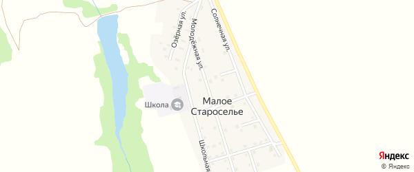 Молодежная улица на карте деревни Малого Староселья с номерами домов