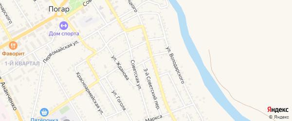 2-й Советский переулок на карте поселка Погара с номерами домов