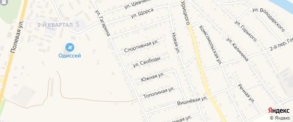 Улица Свободы на карте поселка Погара с номерами домов