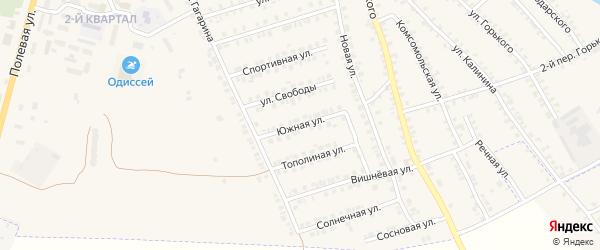 Южная улица на карте поселка Погара с номерами домов