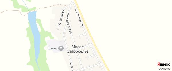 Солнечная улица на карте деревни Малого Староселья с номерами домов