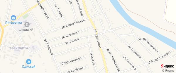 Улица Щорса на карте поселка Погара с номерами домов