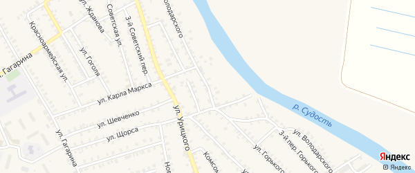 Улица Володарского на карте поселка Погара с номерами домов