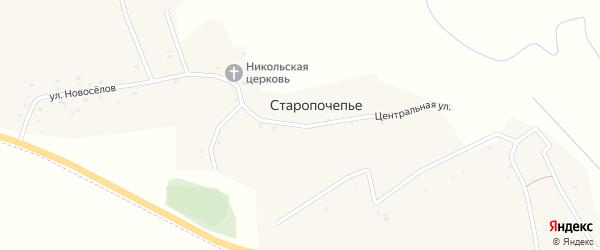 Центральная улица на карте села Старопочепья с номерами домов