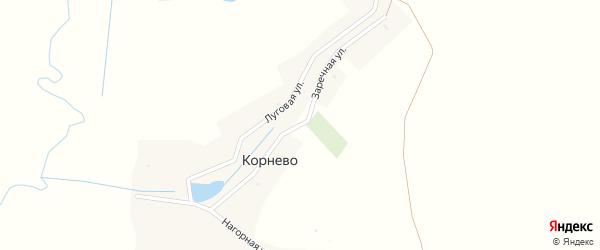 Заречная улица на карте деревни Корнево с номерами домов