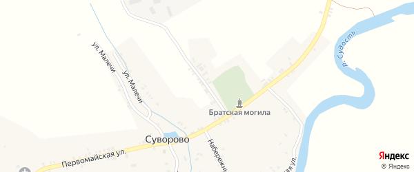 Первомайский переулок на карте села Суворово с номерами домов
