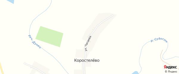 Улица Чапаева на карте деревни Коростелево с номерами домов