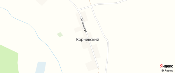 Полевая улица на карте Корневского поселка с номерами домов