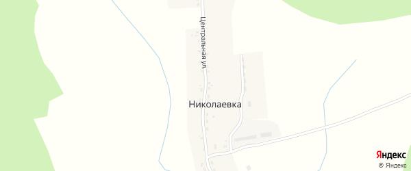 Центральная улица на карте деревни Николаевки с номерами домов