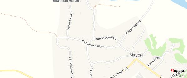 Октябрьская улица на карте села Чаус с номерами домов