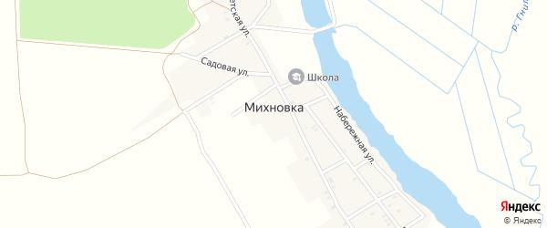 Зеленая улица на карте деревни Михновки с номерами домов
