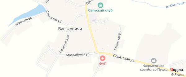 Советская улица на карте села Васьковичи с номерами домов