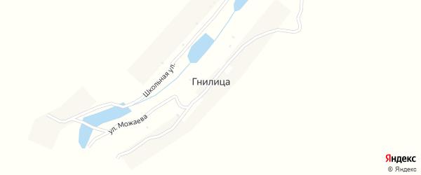 Школьная улица на карте деревни Гнилицы с номерами домов