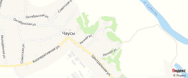 Речная улица на карте села Чаус с номерами домов