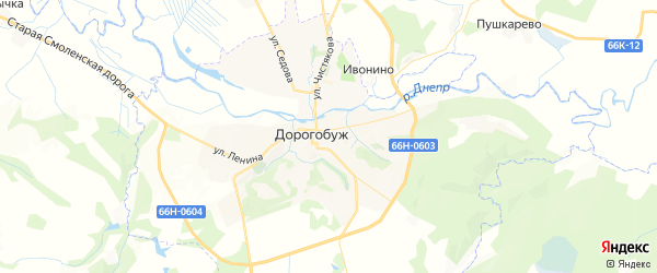 Карта Дорогобужа с районами, улицами и номерами домов