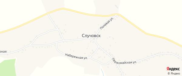 Набережная улица на карте села Случевска с номерами домов