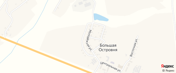 Молодежная улица на карте деревни Большей Островни с номерами домов