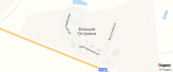 Сельская улица на карте деревни Кутца с номерами домов