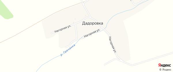 Нагорная улица на карте деревни Дадоровки с номерами домов