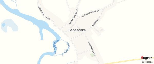 Карта села Березовки в Брянской области с улицами и номерами домов