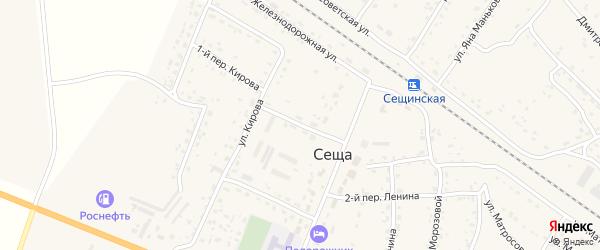Центральный переулок на карте поселка Сещи с номерами домов