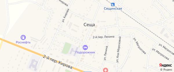 Центральная улица на карте поселка Сещи с номерами домов