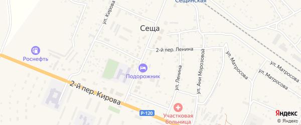 Октябрьский 3-й переулок на карте поселка Сещи с номерами домов