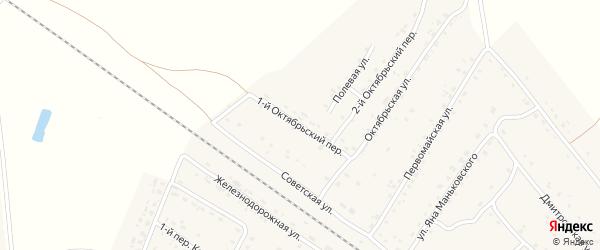 Октябрьский 1-й переулок на карте поселка Сещи с номерами домов