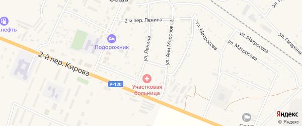 Ленина 2-й переулок на карте поселка Сещи с номерами домов