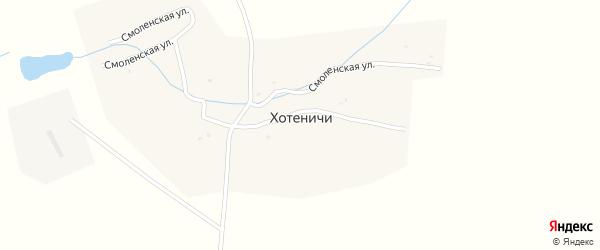 Заречная улица на карте деревни Хотеничей с номерами домов