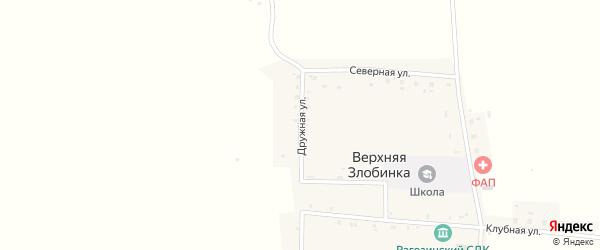 Дружная улица на карте деревни Верхней Злобинки с номерами домов