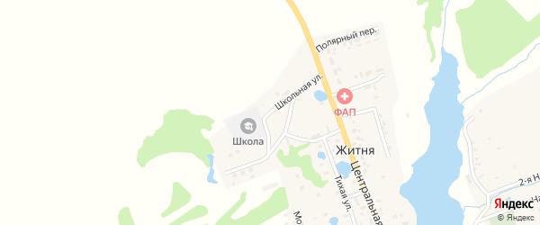 Школьная улица на карте поселка Житня с номерами домов