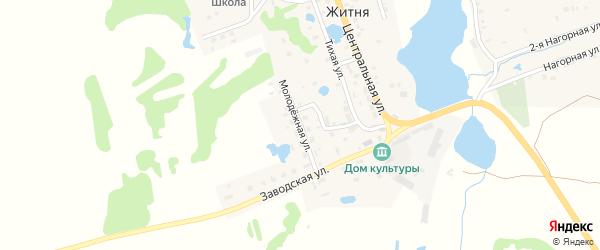 Молодежная улица на карте поселка Житня с номерами домов