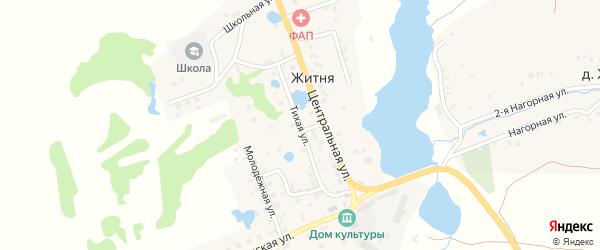 Тихая улица на карте поселка Житня с номерами домов