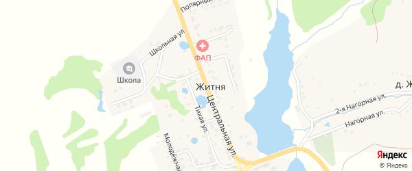Центральная улица на карте поселка Житня с номерами домов