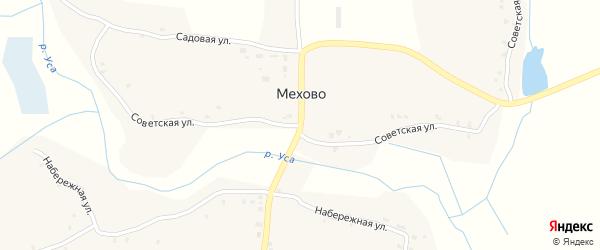 Советская улица на карте деревни Мехово с номерами домов