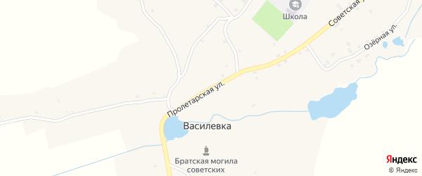 Пролетарская улица на карте деревни Василевки с номерами домов