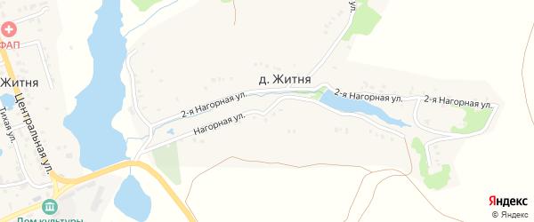 Нагорная улица на карте деревни Житня с номерами домов