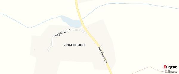 Клубная улица на карте деревни Ильюшино с номерами домов