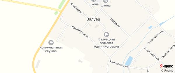 Бакланская улица на карте села Валуйца с номерами домов