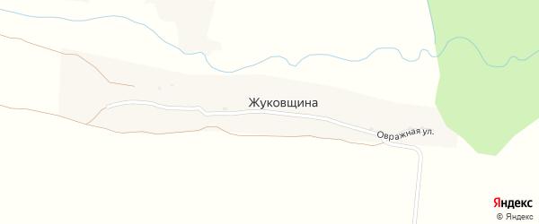 Овражная улица на карте деревни Жуковщина с номерами домов