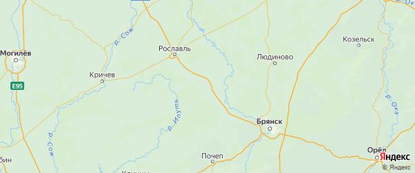 Карта Дубровского района Брянской области с городами и населенными пунктами