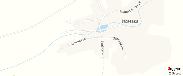 Зеленая улица на карте деревни Исаевки с номерами домов