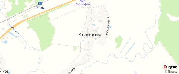 Карта деревни Козорезовки в Брянской области с улицами и номерами домов